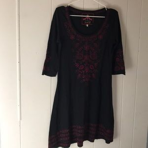 JOHNNY WAS small embroidered dress black